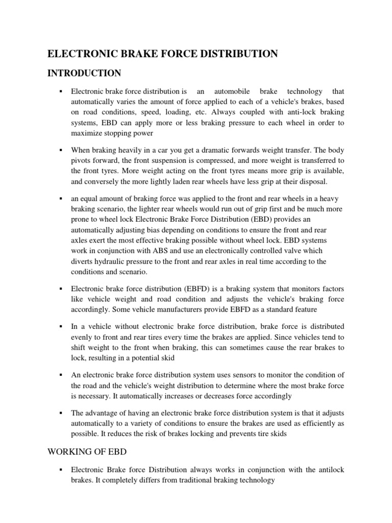 Electronic Brake Force Distribution (EBD) system warning
