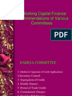 Working Capital Finance-Recommendations of Various Committees.
