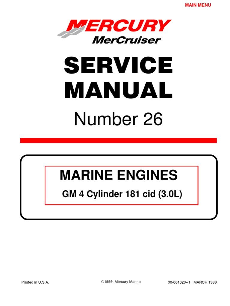 Mercruiser 4 Cyl 3.0 Service Manual | Gasoline | Internal Combustion ...