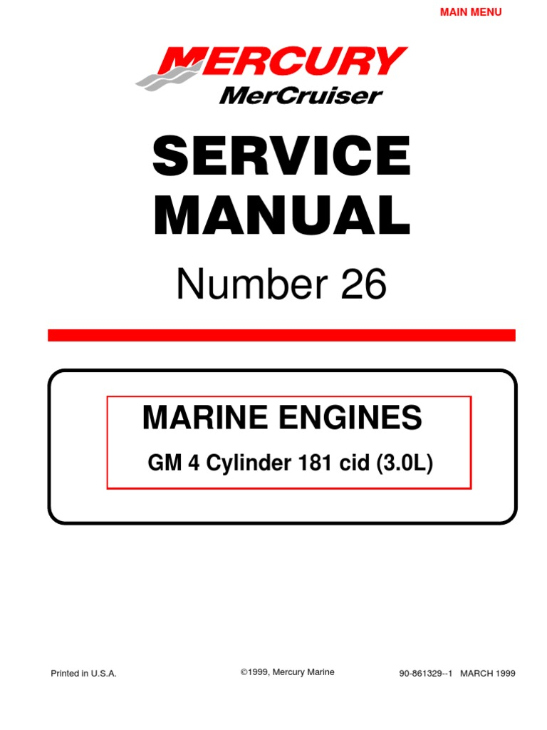 Mercruiser 4 Cyl 3.0 Service Manual | Gasoline | Internal Combustion Engine