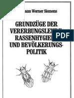 Siemens, Hermann - Grundzuege Der Vererbungslehre, Rassenhygiene Und Bevoelkerungspolitik (1930, 145 S., Scan, Fraktur)