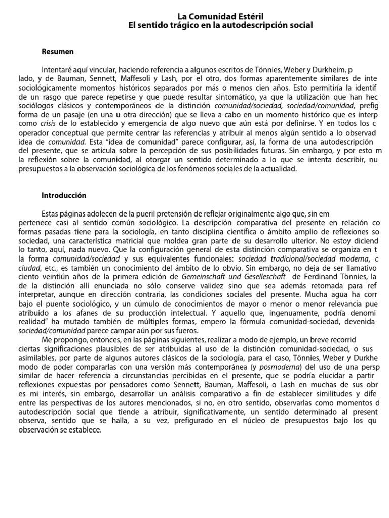 La Comunidad Esteril Sociologia Sociedade
