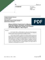 Informe del Relator Especial sobre las obligaciones de derechos humanos relacionadas con la gestión y eliminación ecológicamente racionales de las sustancias y los desechos peligrosos