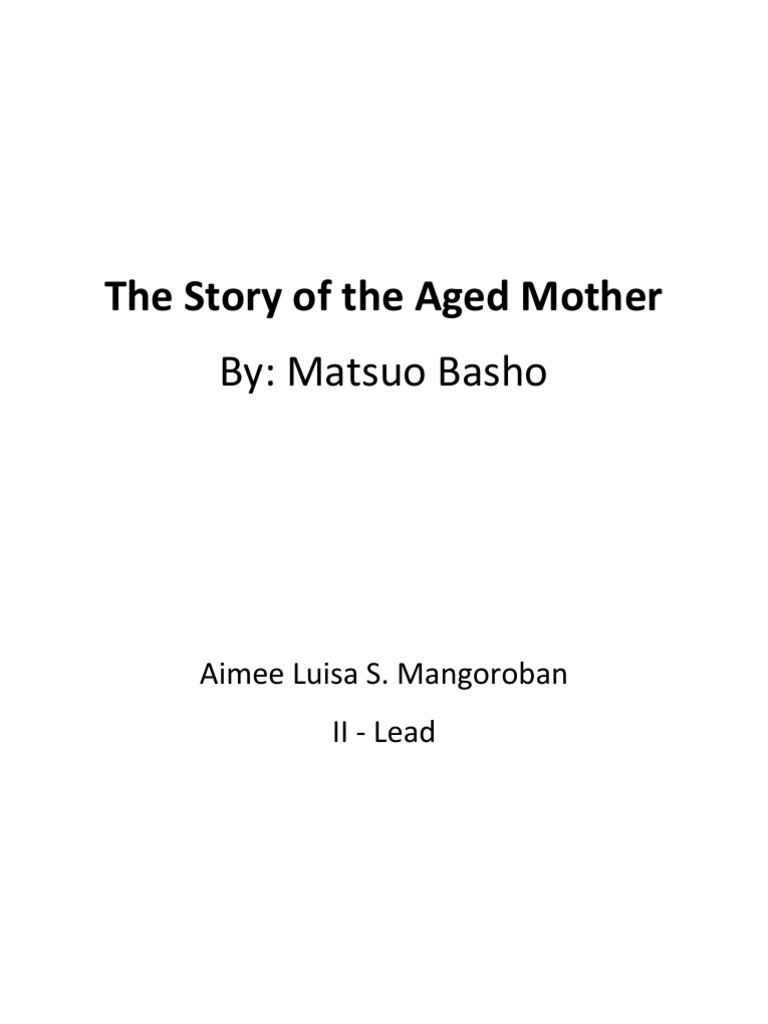 The story of the aged mother critical essay narration ccuart Choice Image