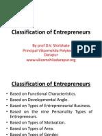 Classification of Enterprenuers