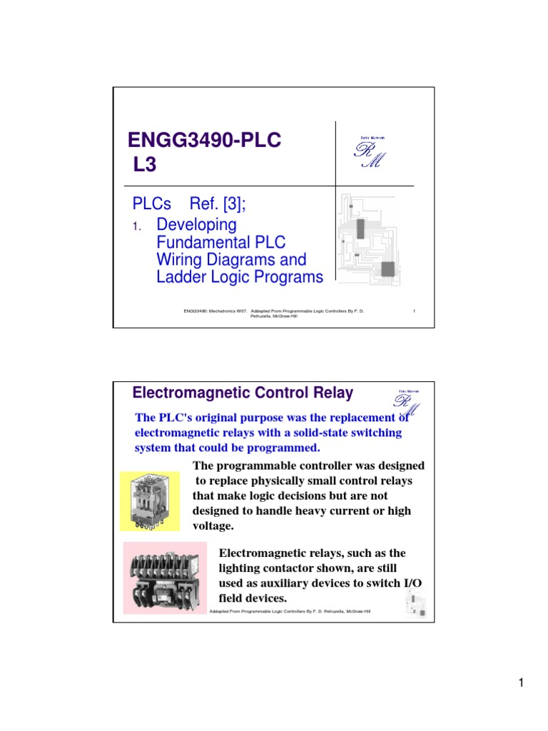Engg3490 Plc L3 Relay Programmable Logic Controller Ladder Wiring Diagram
