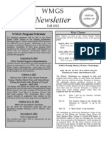 WMGS Newsletter Fall 2012