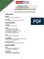 Elections législatives candidats investis par le Nouveau Centre  8 février 2012