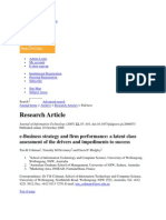 E-Business Strategy and Firm Performance- A Latent Class Assessment of the Drivers and Impediments to Success