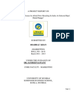 A Study Of Important Issues In Allied Petro Retailing In India At Selected Bpcl Petrol Pump