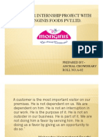 SUMMER INTERNSHIP PROJECT WITH MONGINIS FOODS PVT.LTD