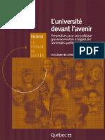 L'université devant l'avenir - Perspectives pour une politique gouvernementale à l'égard des universités québécoises - 20 février 1998