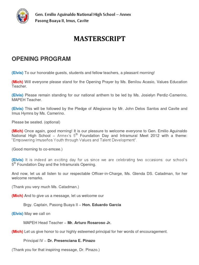Intramural Script 2012 revised | Philippines