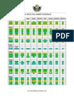 KSA Main Academy Game Schedule Fall 2012