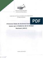 Primeras ideas de acciones económicas a tomar por el gobierno de la unidad nacional 2013