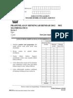 Percubaan PMR 2012 Matematik (2) N9