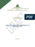 Avant-Projet de Politique Energétique de la Republique d'Haiti (ebauche 9), 1-2012