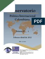 Observatorio Política Exterior Colombiana. Boletín N°1. Issn
