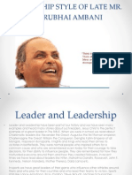 Leadership Style of Late Mr Ambani