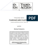 Entrevista sobre la política a Bolivar Echeverria