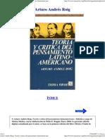 700 - Arturo Andres Roig - Teoria y Critica Del Pensamiento Latinoamericano