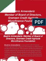 Beatriz Armendariz- Member of Board of Directors, Grameen Credit Agricole Microfinance Foundation