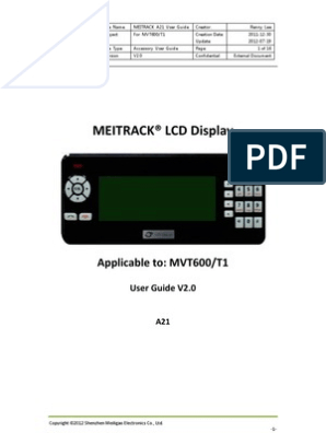 MEITRACK A21 LCD Display User Guide V2 0 | Short Message
