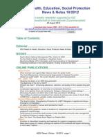 Health, Education, Social Protection News & Notes 18/2012