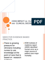 Cdss Impact on Clinicians and Clinical Decisions