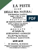 Alizeri Della Peste 1721 Italiano