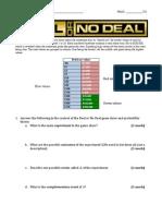Deal or No Deal Worksheet