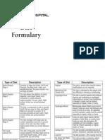 Diet Order Formulary