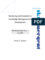 090817 Ikm Working Paper 3 Monitoring and Evaluation in Knowledge Management for Development