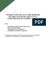 Purificacion de Agua Por Medio de Filtros Lentos de Arena en La Comunidad de Kuychiro