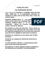 Mock Interview Student Notice Class of 2013