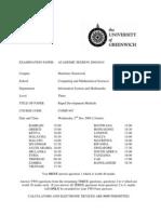 Sample of Rapid Development Methods Exam (Dec 2009) - UK University BSc Final Year
