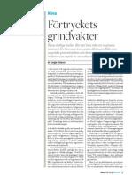 """""""Förtryckets grindvakter"""", för Axess magasin"""