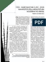 Warchavchik e Levi - Dois Manifestos Pela Arquitetura