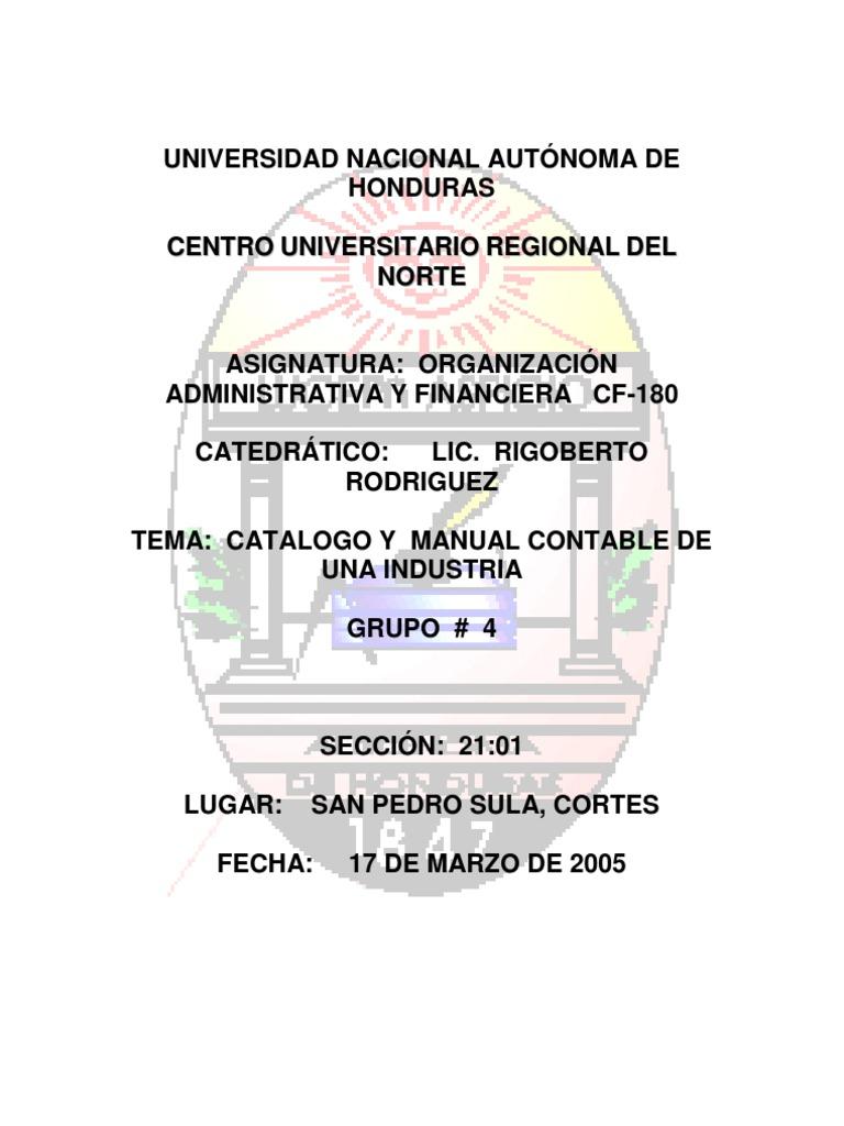 Ejemplo manual de catálogo de cuentas.