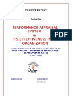 project report on performance appraisal