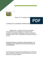 VII CONCILIO DE LA SOCIEDAD YORUBA DE MEXICO