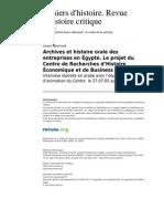 Chrhc 719 100 Archives Et Histoire Orale Des Entreprises en Egypte Le Projet Du Centre de Recherches d Histoire Economique Et de Business Ebhrc