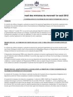 Compte-rendu du conseil des ministres du 1er août 2012
