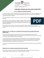 Compte-rendu du conseil des ministres du 4 juillet 2012