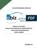 Manual de Usuario Proveedor de Grupo Romero en Pre Registro de Comprobante de Pago