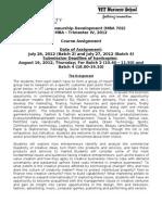 Entrepreneurship Development - Assignment for MBA