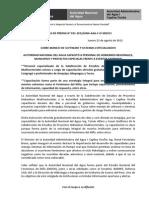 BOLETÍN DE PRENSA 031-2012