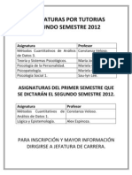 Aviso - Asignaturas Por Tutorias Segundo Semestre 2012
