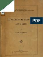 Lidzbarski. Altaramäische Urkunden aus Assur. 1921.