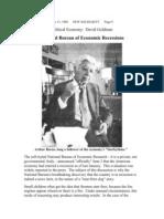 National Bureau of Economic Recessions